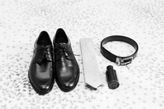 Wedding details. Man accessories. Groom accessories and Wedding details, Shoes, belt Royalty Free Stock Photos