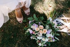 Wedding details. shoes royalty free stock image