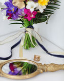 Wedding details with wedding bouquet. Bridal morning Stock Photography