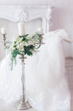 Wedding details with wedding dress. Bridal morning Royalty Free Stock Photos
