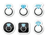 Wedding, Diamond engagement ring icon Royalty Free Stock Photo