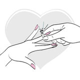 Wedding diamond ring. Illustration of groom hand placing wedding ring on finger of his bride Stock Photo