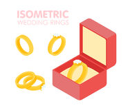 Wedding diamond ring in a box isometric set. Vector illustration Royalty Free Stock Photography