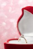 Wedding diamond ring in  red heart shaped gift box Royalty Free Stock Photos