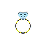 Wedding diamond ring solid icon, engagement ring Royalty Free Stock Images