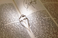 Wedding diamond rings on a bible Stock Photos