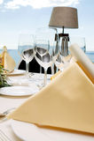 Wedding diner table. Table preparing for after wedding ceremony diner in luxury hotel's restaurant Stock Image