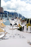 Wedding diner table. Table preparing for after wedding ceremony diner in luxury hotel's restaurant Royalty Free Stock Photo