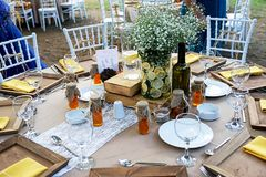 Wedding diner table and wedding organization. Table Royalty Free Stock Images