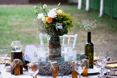 Wedding diner table and wedding organization. Table Royalty Free Stock Photo