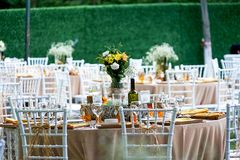 Wedding diner table and wedding organization Royalty Free Stock Image
