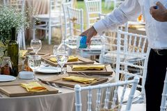 Wedding diner table and wedding organization. Table Stock Photo