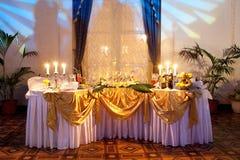 Wedding dinner. Table set for a wedding dinner Stock Photos