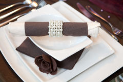 Wedding dinner. Detail in brown and white Royalty Free Stock Photo