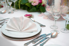 Wedding dinner. Fancy table set for a wedding dinner Royalty Free Stock Images