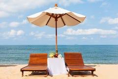 Wedding dinner on the beach. Stock Image