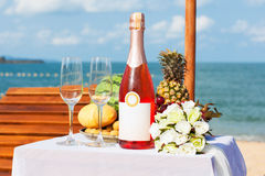 Wedding dinner on the beach. Royalty Free Stock Image