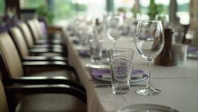 Wedding dinner decoration stock footage
