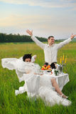 Wedding dinner on the field Royalty Free Stock Photos