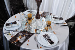 Wedding dinner reception table Stock Photo