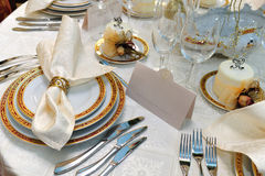 Wedding dinner reception table Stock Images