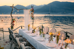 Wedding dinner by the sea. Wedding banquet at the sea. Donja Las. Tva, Montenegro, Tivat royalty free stock photo