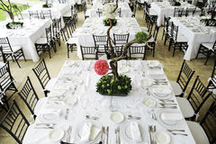 Wedding dinner table. Wedding guest dinner table set Royalty Free Stock Photography