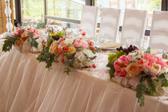 Wedding dinner table with chairs Stock Photo
