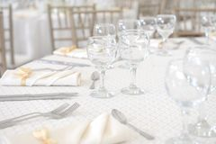 Wedding dinner table set Stock Photos