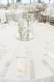 Wedding dinner table set Royalty Free Stock Images