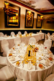 Wedding dinner venue and reception table decoration Royalty Free Stock Photo