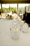 wedding dinner venue and reception table decoration Stock Photo