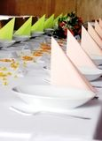 Wedding dodgy table. With coloured napkin Royalty Free Stock Photography