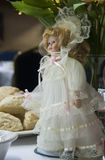 Wedding Doll Center Piece. White Wedding Doll Tea Center at The Salvation Army, Tacoma Corps, Washington USA Stock Photo