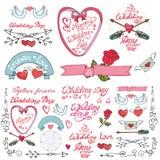 Wedding doodle decor elements set Royalty Free Stock Images
