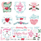 Wedding doodle decor elements set.Romantic labels Royalty Free Stock Photography