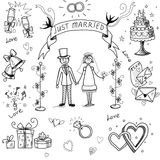 Wedding doodle sketchy Stock Image