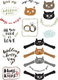 Wedding doodles set. With cats, rings and more Stock Photography