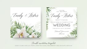 Wedding double invitation, invite card design with elegant white. Orchid flower, greenery willow eucalyptus branches, tropical forest palm green leaves royalty free illustration