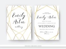 Wedding double invite, invitation save the date card elegant des. Ign with luxury vector golden foil geometrical, linear decorative frame, border. Beautiful Royalty Free Stock Photography