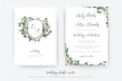 Wedding double invite, invitation, save the date card floral design. Botanical monogram: creamy wax flower, Eucalyptus green stock illustration