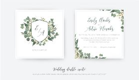 Wedding double invite, invitation, save the date card floral design. Elegant monogram with silver dollar eucalyptus greenery. Leaves, green branches & creamy vector illustration