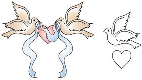 Wedding Doves. Two light brown doves carrying a blue banner ribbon over a pink heart. Includes an outlined dove and heart. Great for wedding invitations vector illustration
