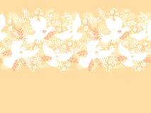 Wedding doves among flowers horizontal seamless Royalty Free Stock Photography