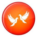 Wedding doves icon, flat style Royalty Free Stock Images