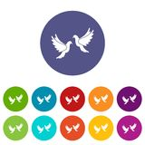 Wedding doves set icons Stock Images