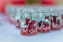 Wedding dragée jar gift for wedding guest stock images