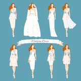 Wedding draw dresses set. Royalty Free Stock Images