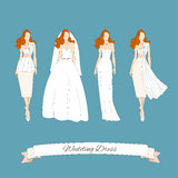 Wedding draw dresses set. Royalty Free Stock Photography