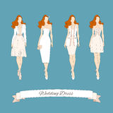 Wedding draw dresses set. Royalty Free Stock Image